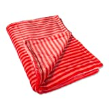 DII Super Soft Plush Flannel Fleece Stripe Blanket Throw for Chair, Couch, Picnic, Camping, Beach, Everyday Use, 36 x 48 - Red
