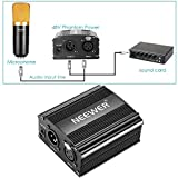 Neewer 1-Channel 48V Phantom Power Supply with Adapter, BONUS+XLR 3 Pin Microphone Cable for Any Condenser Microphone Music Recording Equipment (8 feet)