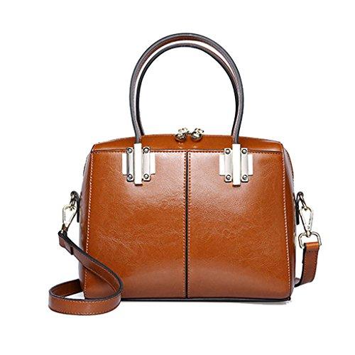 Bolso de la mujer Bolso de hombro largo Messenger Bag Bolso de cuero Vintage Style Street Work Travel ( Color : Brown yellow ) Brown Yellow