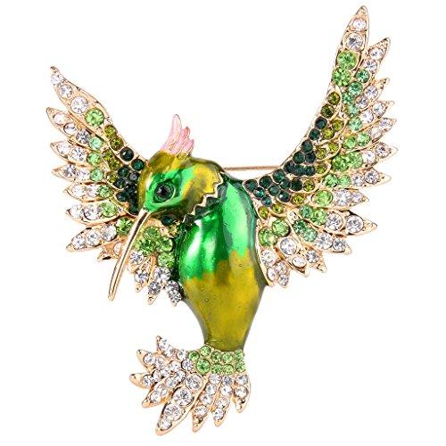 (EVER FAITH Women's Austrian Crystal Enamel Lovely Bird Animal Brooch Green Gold-Tone )
