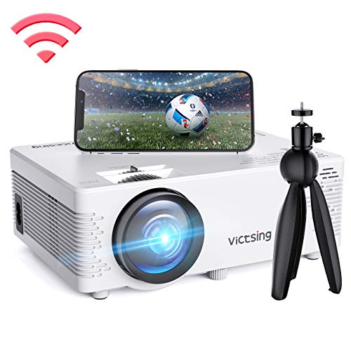 VicTsing WiFi Projector, Screen Mirroring & Bluetooth, 3600 Lux Wireless Projector Bluetooth with Tripod, 1080P Supported, HiFi Sound. Mini Projector Compatible with TV Stick, PS4.【2019 New Tech】