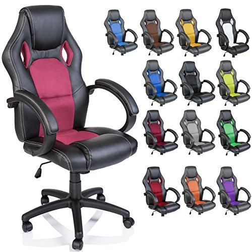 TRESKO Silla giratoria de oficina Sillon de escritorio Racing, silla Gaming ergonomica, cilindro neumatico certificado por SGS (Negro/Rosa)