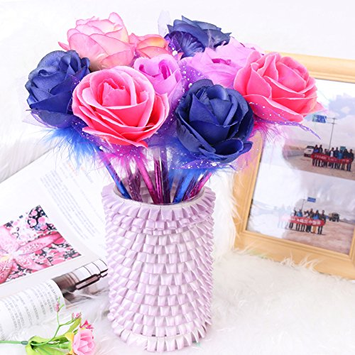 Fashion Rose Flower Ball Pen Ballpoint - Mixed Five Colors - Blue Ink Pens Bullet (12pcs)