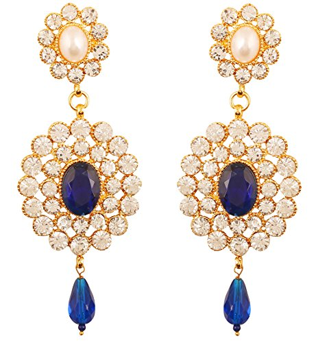 NEW! Touchstone Indian Bollywood Adorable Faux Pearls Bright Blue Faux Sapphire And White Crystals Dazzling Bridal Jewelry Chandelier Earrings For Women In Gold - Pearl Earrings Bridal Faux