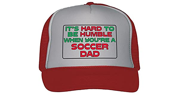 a9f4391df4c Amazon.com  It s Hard to Be Humble When You re A Soccer Dad Trucker Hat Cap  Red  Clothing