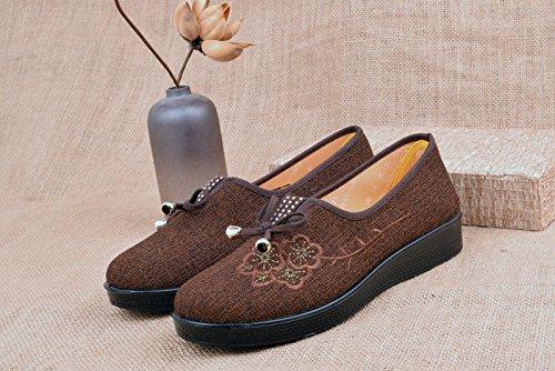 Glissants Vieux Seul Petite Non Maman À Les Au À Chaussures Et Les Au GTVERNH Fond Soft Printemps Chaussures brown Beijing Plat Chaussures Milieu Tissu Bouche L'Âge Bottom qUwzwd1Cx