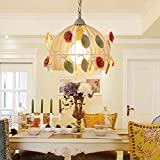 Ceiling Pendant Light Chandelier, Single E27 Light Source Round Painting Body Ceramics Flower Art Ceiling Lamps for Dining Room Restaurant