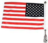 Cheap Pro Pad Rear 1/2″ Tour Pack Fixed Motorcycle Flag Mount Kit; includes 10″ x 15″ USA Parade Flag and 13″ Stainless Steel Flag Pole with Cone Topper