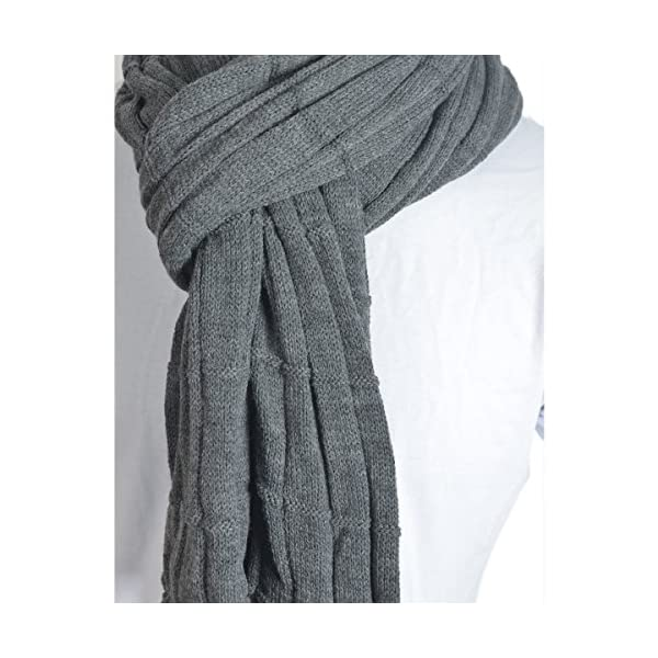 Trendy Men Turnup Knitted Designer Winter Scarf (Dark Gray)