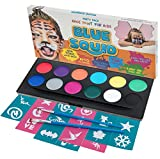 Blue Squid Face Paint Kit for Kids! | 12 Colours, 30 Stencils, 2 Brushes | Best Value Face Painting Set in Strong Cosmetics Case | Quality Vibrant Water Based Safe Non-Toxic Vegan | +BONUS Free Online Tutorial