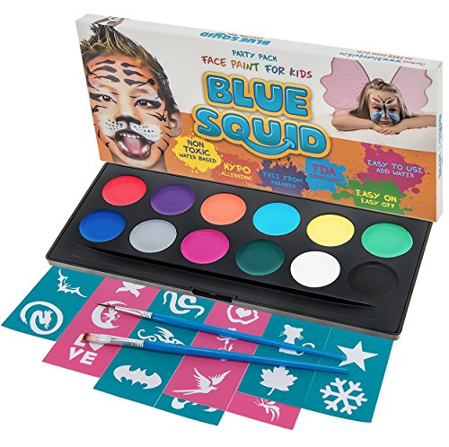Blue Squid Face Paint Party Pack | 12 Color, 30 Stencils, 2 Brushes | Best Value Face Painting Set for Kids | Vibrant Water Based Non-Toxic FDA Approved