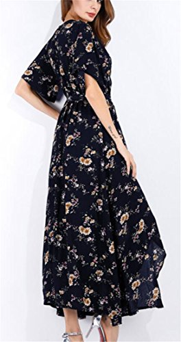 Beach Print Bohemia Womens Long Belted Split 2 Domple Dress Summer Floral Neck V qwzFwtB