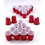 2 Pack -- Red Solo Cup style Shot Pong Games. Includes 24 mini shot glasses and 4 mini ping pong balls.