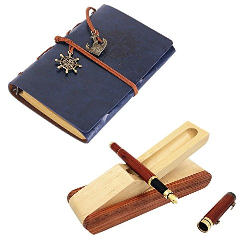 YunNasi Writing Journal Notebook with Rosewood Fountain Pen Set Boxed Blue