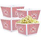 Bekith Open-Top Plastic Reusable Popcorn Tub, Square, Set of 4