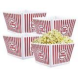 popcorn serving - Bekith Open-Top Plastic Reusable Popcorn Tub, Square, Set of 4