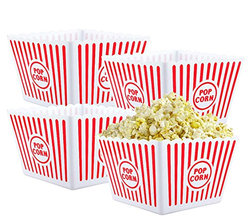 (Bekith Open-Top Plastic Reusable Popcorn Tub, Square, Set of 4)