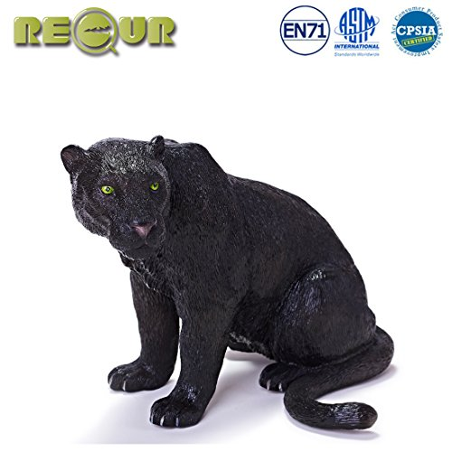 "Pvc Soft Toy (RECUR Toys 7.5"" Black Panther Action Figure Toys, Soft Hand-Painted Skin Texture Dog Toys for Kids- 1:8 Scale Realistic Design Black Panther Replica, Ideal for Collectors, Ages 3 And Up)"