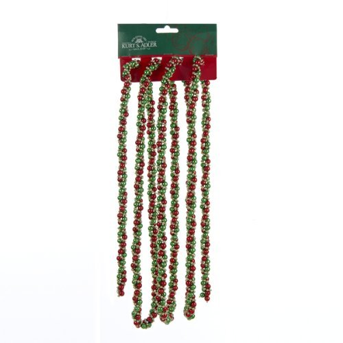 Kurt Adler 9 Foot Red, Green And Gold Twisted Beads Christmas Garland