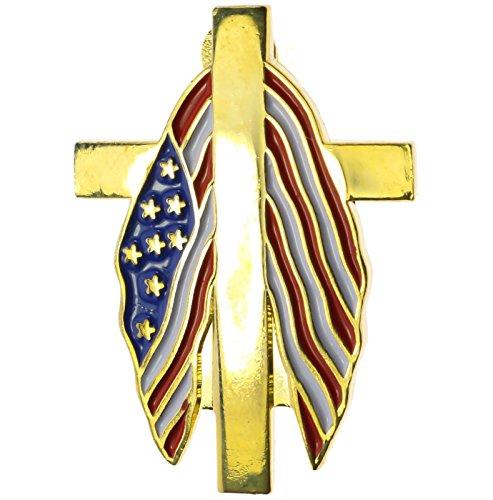 Patriotic Cross Draped Flag Hat or Lapel Pin -