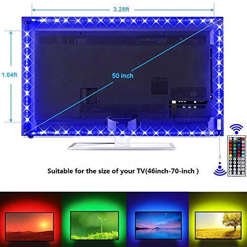 USB TV Backlight Kit, 9.8ft USB Bias Lighting 20 Colors 5050 RGB Led Strip Light with 44-Key IR Remote Controller for 46 inch~70 inch HDTV PC Monitor Home Theater Decoration ()