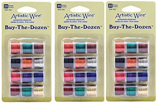 Wire Various (Artistic Wire 20-Gauge Buy-The-Dozen, Various Colors, 12-Pack (3 Pack))