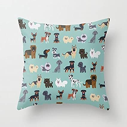 Amazon Com Many Cute Dogs Pattern Canvas Throw Pillow Covers Kids