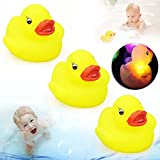 10X Watertight Ducks Flashing Rubber LED Ducks Coloured Light Up Bath Toy For Kid