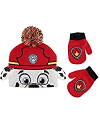 Nickelodeon boys Paw Patrol Character Beanie Hat and Mittens Set Winter Accessory Set