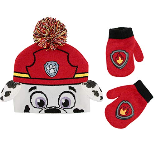 Nickelodeon Boys' Toddler Paw Patrol Character Beanie Hat and Mittens Set, Marshall Design Red/White, Age 2-4