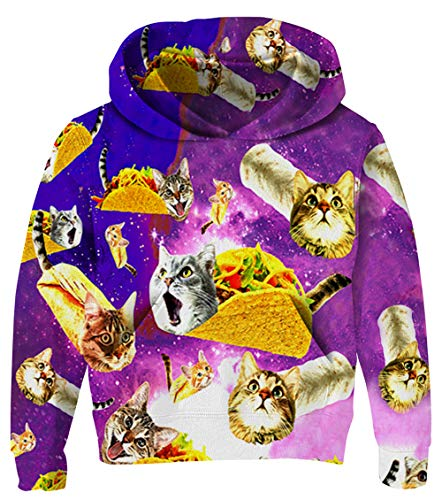 UNICOMIDEA Unisex Kids Sweatshirt Colorful Hoodies of Forced Cat Digital Print Soft Outwear Winter Wear with Pocket for Kid 8-10 Years Old ()