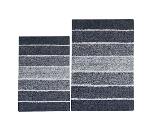 Charcoal Gray Stripe (Chardin home 100% Pure Cotton - 2 Piece Cordural Stripe Bath Rug Set, (24''x40'' & 21''x34'') Gray-Charcoal with Latex spray non-skid backing)