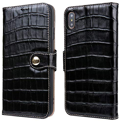 iPhone Xs Max Leather Wallet, Reginn Genuine Leather Folio with [Card & Cash Pockets] [Stand Function] Crocodile Pattern Leather Wallet for iPhone Xs Max (Black)