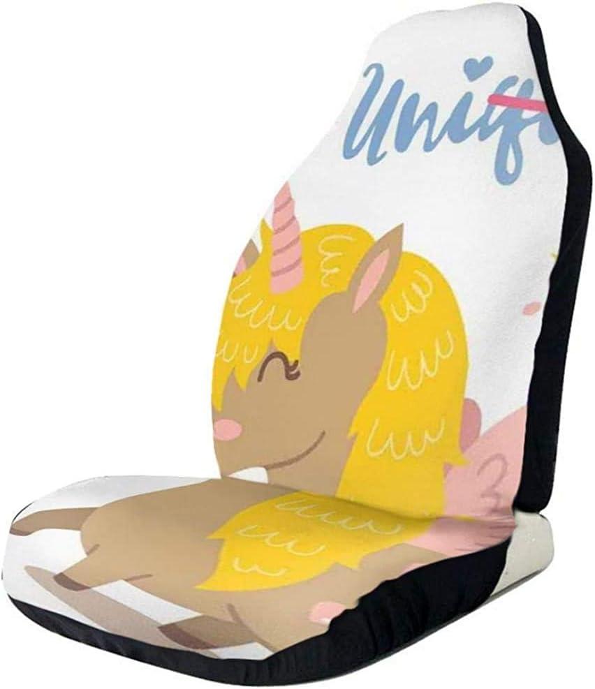 Fundas de asientos delanteros del coche Protector del vehículo, Caballo de fantasía femenino divertido e inspirador con un cuerno dibujado en dibujos animados, apto para la mayoría de los coches