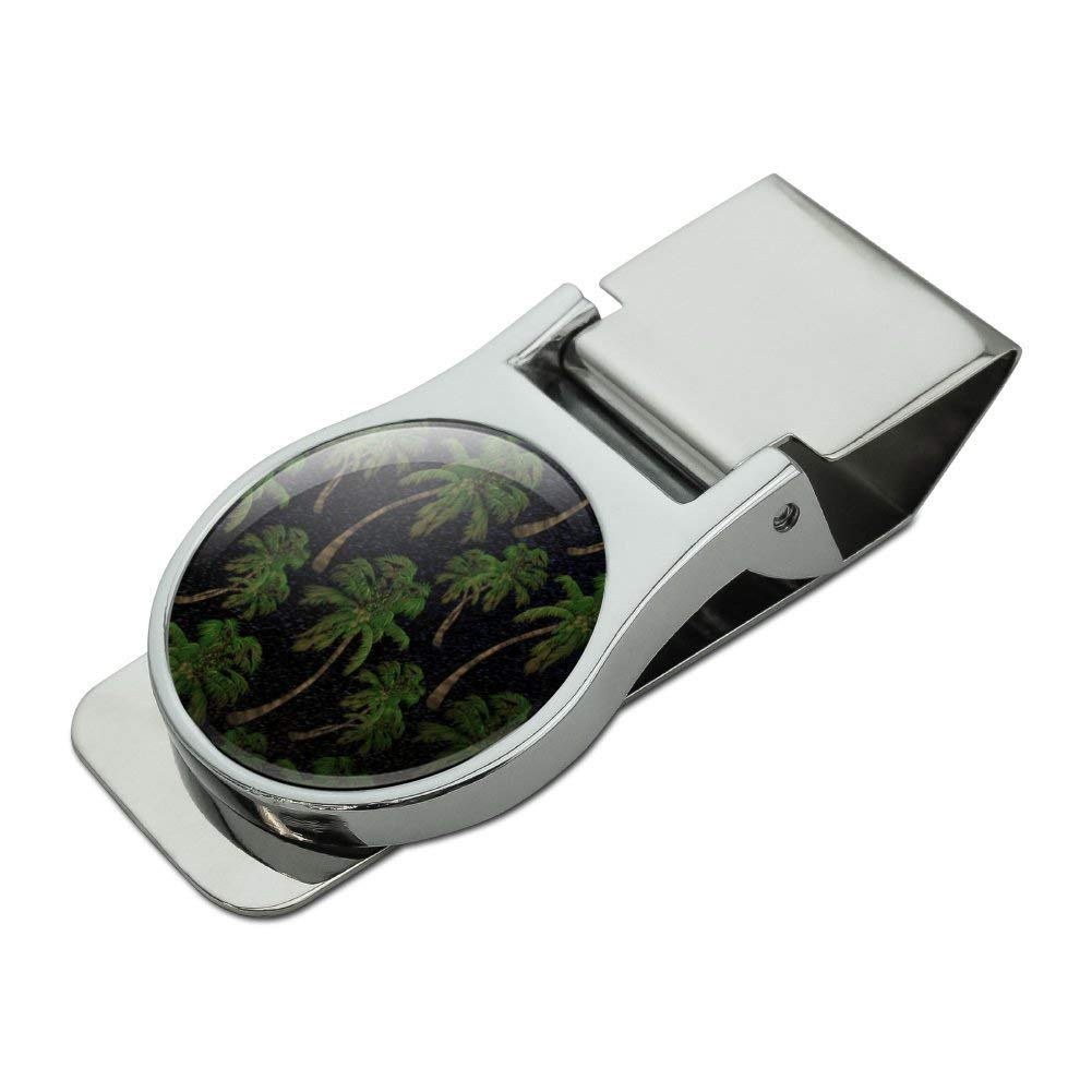 Palm Trees Night Sky Pattern Satin Chrome Plated Metal Money Clip