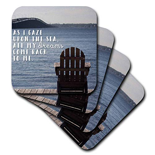 (3dRose Stamp City - landscape - Photo of an adirondack chair on a dock looking over the Barnegat Bay. - set of 8 Ceramic Tile Coasters (cst_293518_4))
