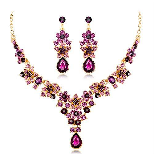 HIIXHC Trendy Wedding Bridal Prom Rhinestone Crystal Necklace Earrings Jewelry Set ()