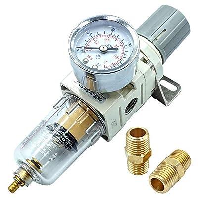Tailonz Pneumatic 1/4 Inch NPT Air Filter Pressure Regulator, Water-Trap Air Tool Compressor Filter with Gauge by Tailonz Pneumatic