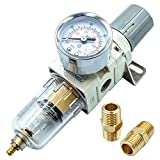 "Tailonz Pneumatic 1/4""NPT Air Filter Pressure Regulator, Water-Trap Air Tool Compressor Filter with Gauge"