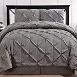 Hotel Style Comforter Set Brushed Microfiber 4 Piece Pinch Pleat Pintuck Luxury Modern Hypoallergenic All Season Soft Bedding - with Pillow Shams and Bed Skirt - Solid Grey/Gray Oversized King Size
