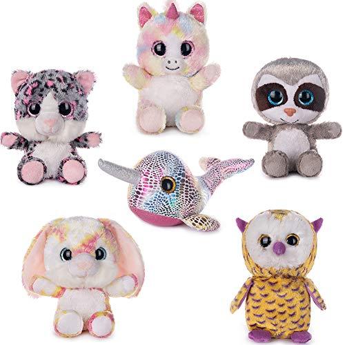 My OLi 7″ Plush Toys Set Stuffed Animals Bundle of Fairy Tale Animal Toys Unicorn/Narwhal/ Rabbit/Owl/Sloth/Cat Stuffed Animals Pack of 6 for Babies Kids Girls Boys