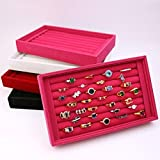 UXTIS Modern Women's Open Ring Boxes Jewelry Box-Four Colors Available, black