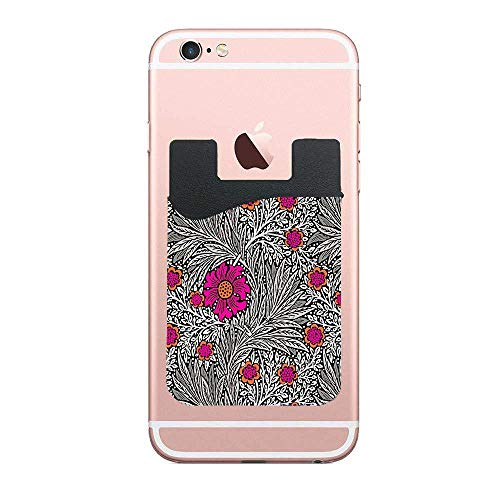 TysoOLDPhoneC William Morris Marigold Gray Grey and White Ultra Thin Stick-on Credit Card Holder Sticker Cell Phone Wallet for Back of iPhone, Samsung, Most Smartphones & Cases 2 PCS