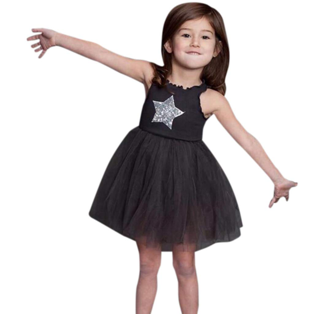 Cyhulu Toddler Kids Baby Girls Sleeveless Sequin Star Print Tulle Lace Princess Dresses 3M-4Y