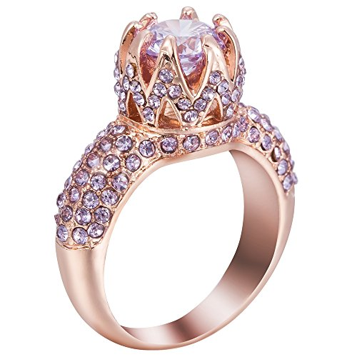 Cluster Engagement Ring Setting (Rose Gold Plated 4.0 Carat Cluster Wedding Engagement Ring (Rose Gold, 5))