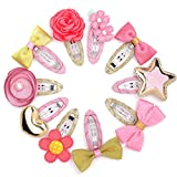 Belle Beau Baby Girls Hair Clips, Bows, Ribbon Lined Snap Clips, Hair Accessories (B)