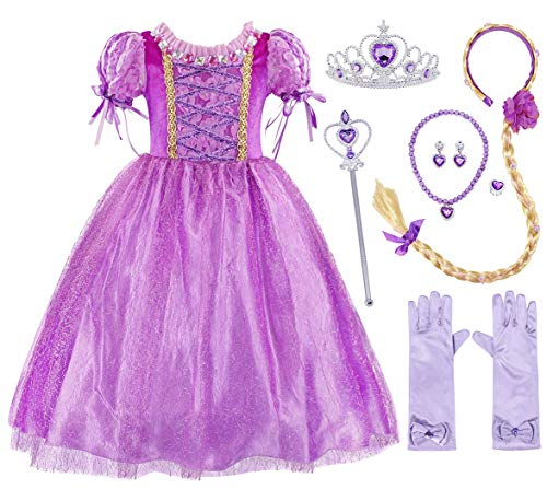 AmzBarley Little Girls Rapunzel Costume Dress Princess Long Hair Toddler Fancy Party Dress up Birthday Cosplay Dress with Accessories Size 4T ()
