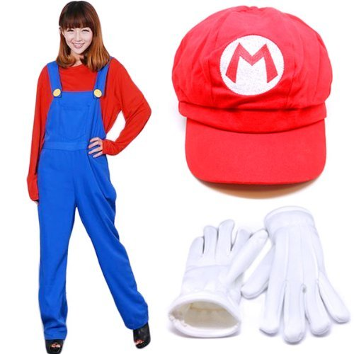 Gloves CaseEden original set of 4 white [Mario Mario cosplay costume gorgeous set of 4] S size unisex red shirt and overalls and red hat & (japan import)