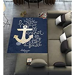 Custom We Have This Hope As an Anchor for the Soul Hebrew 6:19 Theme Pattern,Area Rug Dining Room Home Bedroom Carpet Floor Mat 7'x5'