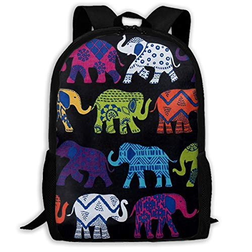 School Daypack Backpack, Big Capacity Backpck for Gym Picnic Bicycle, Black Elephants Traveling & Camping Backpack for Men & Women - Back To School Gift